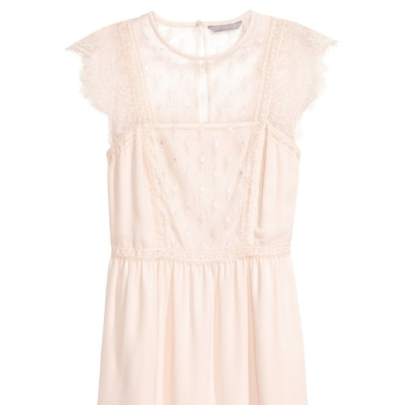 dc0f9585a95b1 H&M Dresses | Nwot Hm Cream Lace Chiffon Dress | Poshmark